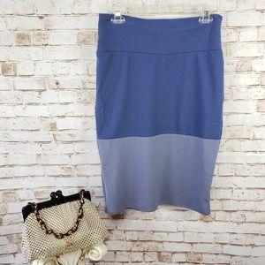 NWT LuLaRoe M Cassie Pencil Skirt Blue Color Block